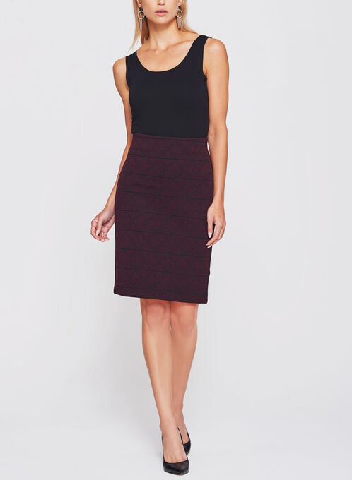 Ottoman Tweed Knit Pencil Skirt, Black, hi-res