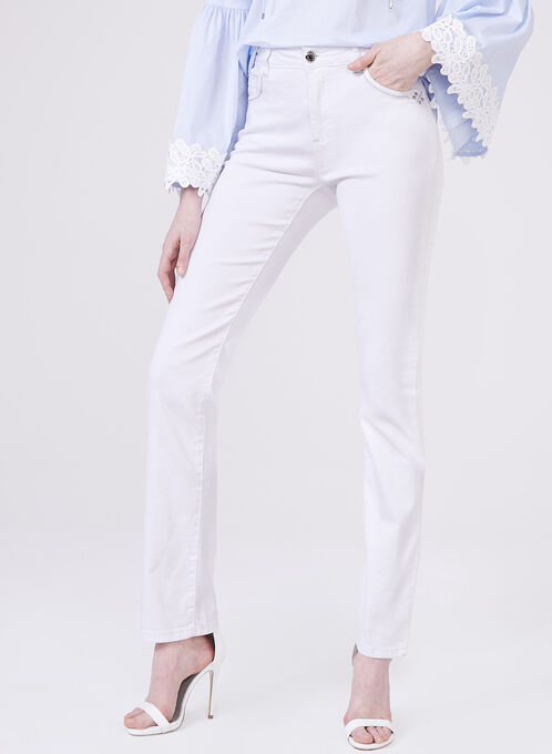 Simon Chang - Straight Leg Jeans, White, hi-res