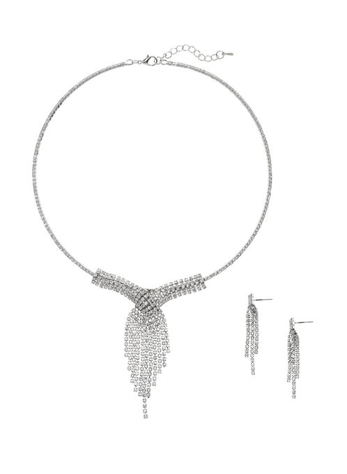 Crystal Wire Necklace with Earrings, Silver, hi-res