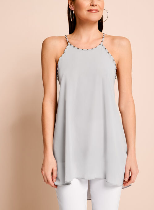 Studded Trim Double Layer Blouse, Silver, hi-res