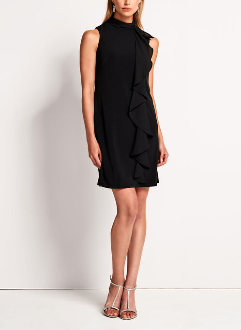 Maggy London - Mock Neck Ruffle Trim Trapeze Dress, Black, hi-res