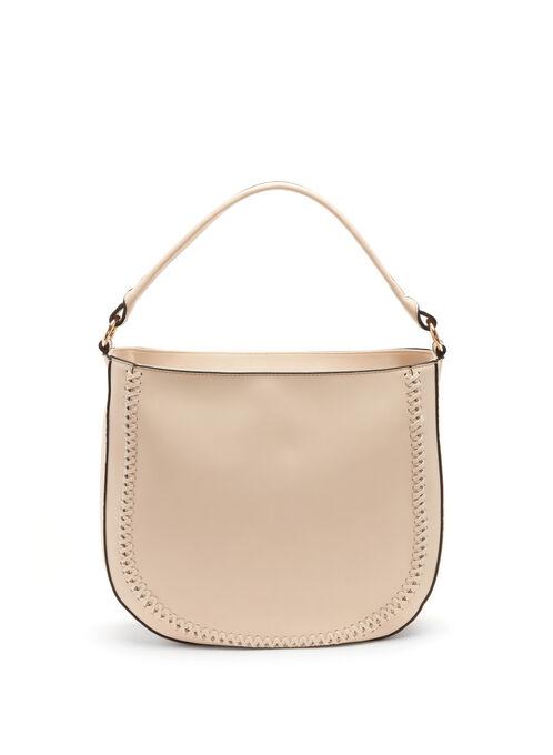 Whipstitch Trim Hobo Bag, Off White, hi-res