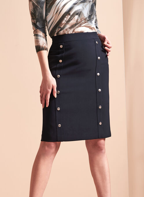 Snap Detail Pencil Skirt, Blue, hi-res