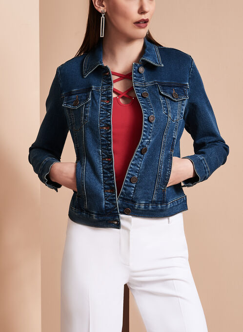 Cropped Knit Jean Jacket, Blue, hi-res