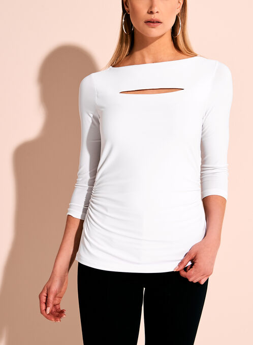 Peek-a-Boo Side Ruched Top, White, hi-res