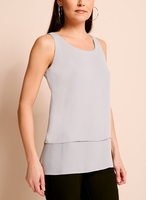 Sleeveless Double Layer Blouse, Silver, hi-res