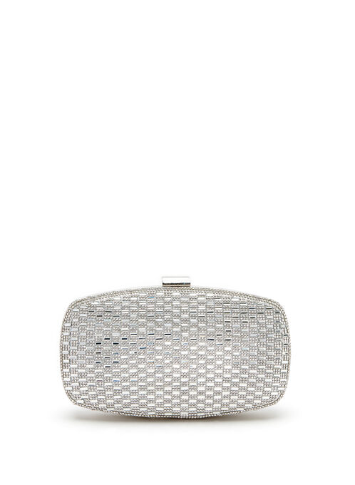 Crystal Embellished Evening Clutch, Silver, hi-res