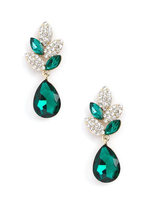 Teardrop Stone Dangle Earrings, Green, hi-res