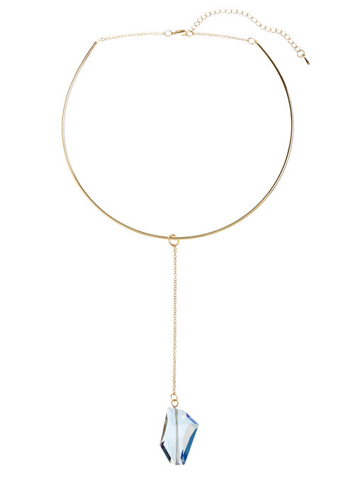Geometric Stone Pendant Collar Necklace, Gold, hi-res