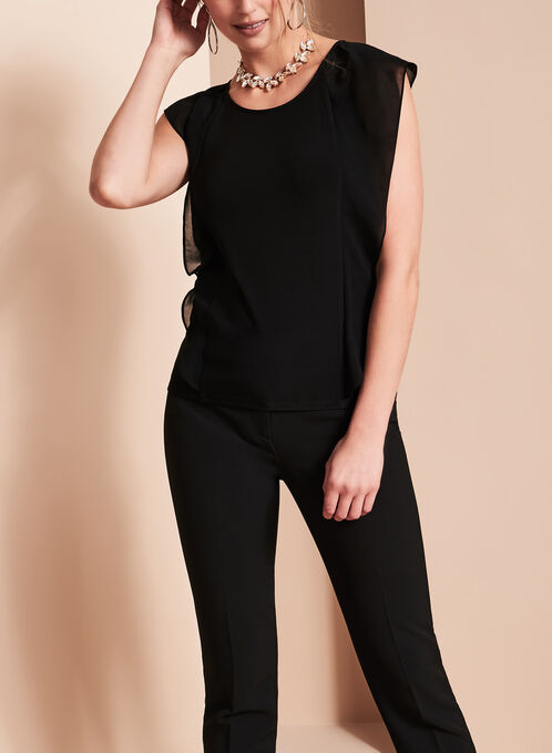 Chiffon Flutter Sleeve Top, Black, hi-res
