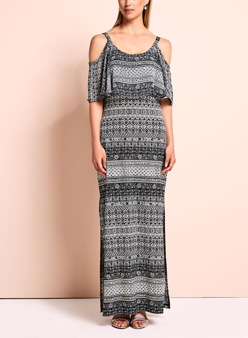 Aztec Off The Shoulder Maxi Dress, Multi, hi-res