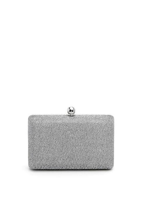 Glitter Box Clutch, Silver, hi-res