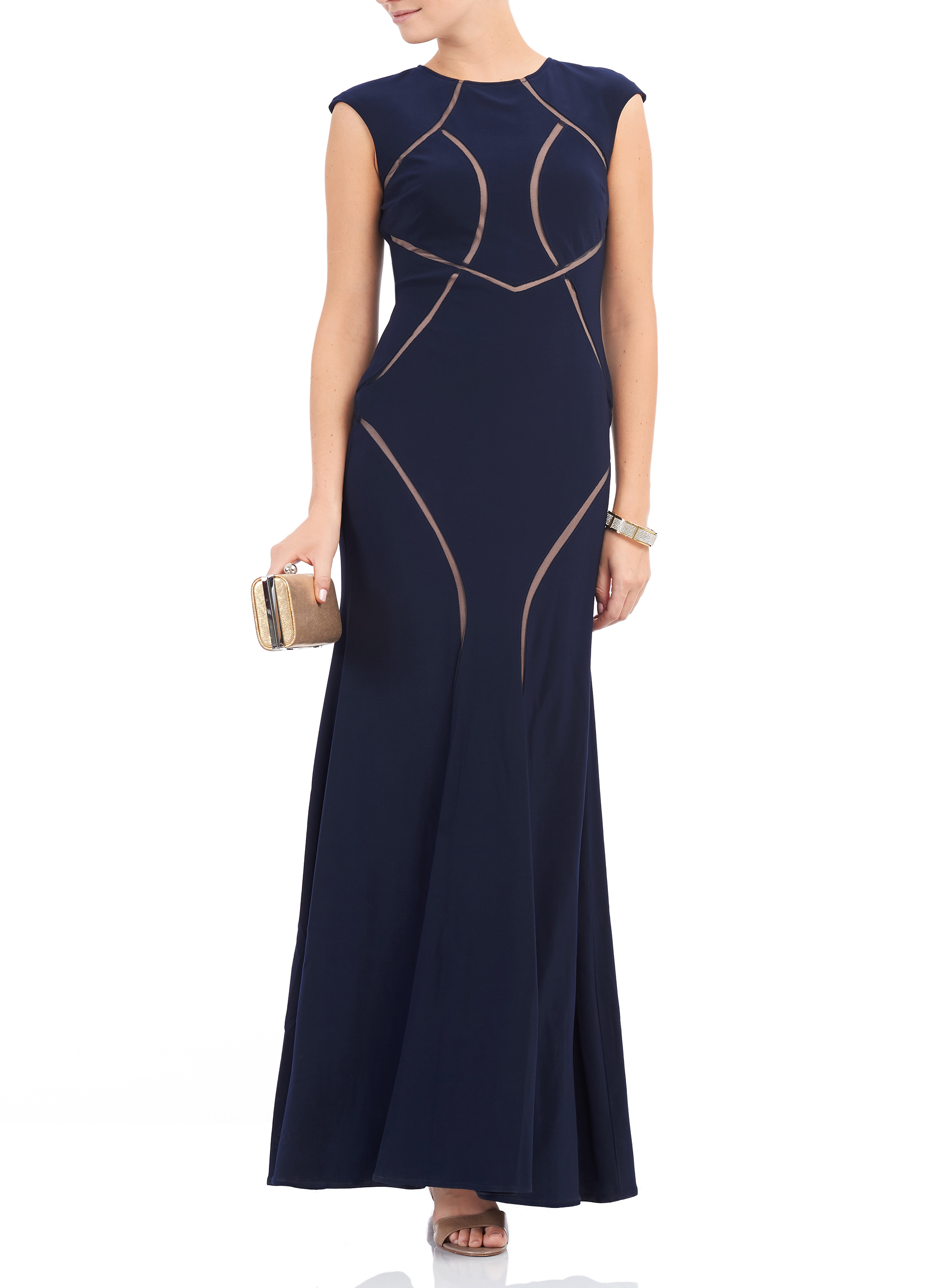 Extended sleeve jersey mesh gown free shipping melanie lyne