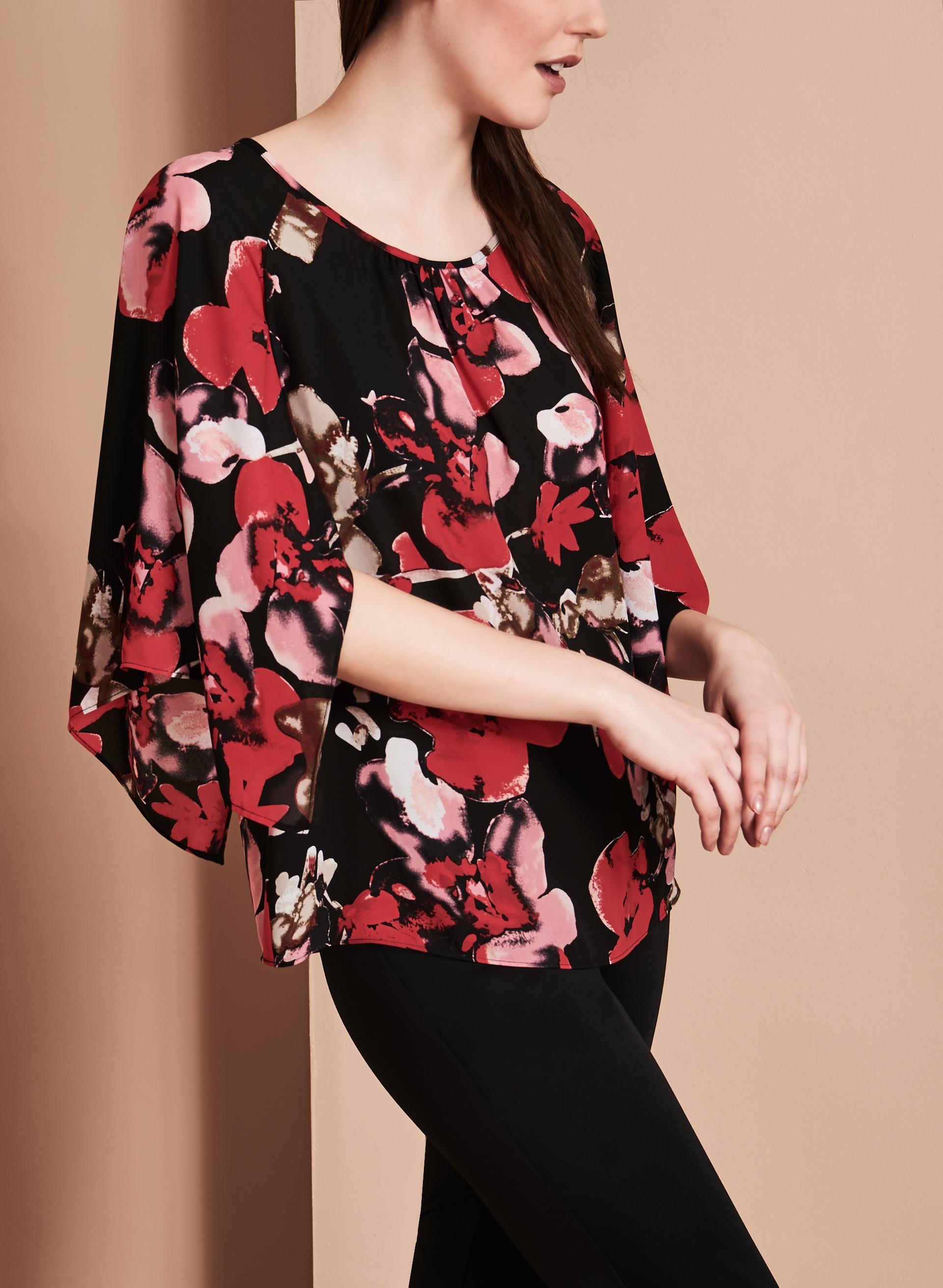 blouse fleurs manches amples livraison gratuite. Black Bedroom Furniture Sets. Home Design Ideas