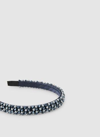 Serre-tête satiné perles et pierres, Bleu,  serre-tête, satin, pierres, perles, automne hiver 2019