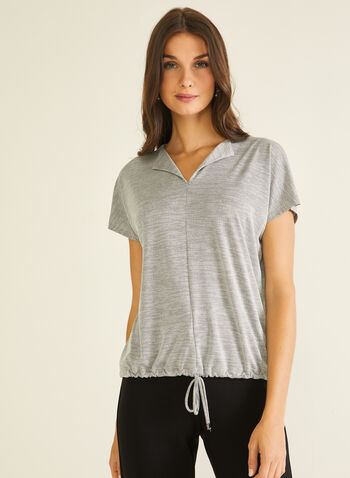 Open Collar Tie Detail Top, Silver,  top, drawstring, tie, textured knit, fall winter 2020