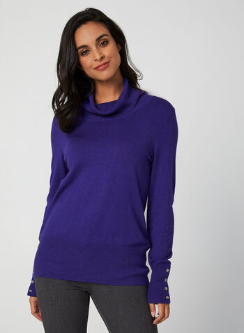 Pull col roulé en tricot pointelle, Bleu, hi-res,  automne hiver 2019, pull, tricot, col roulé, pointelle, boutons, chandail, manches longues