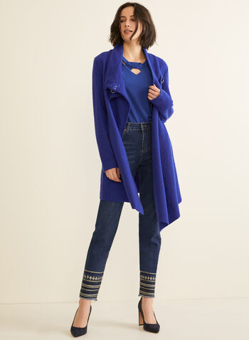 Carré Noir - Boiled Wool Coat, Blue,  coat, boiled wool, clip, asymmetric, fall winter 2019