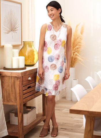 Charlie B - Cotton Gauze Ruffle Dress, Multi,  spring summer 2021, v neck, no sleeves, ruffles, diagonal