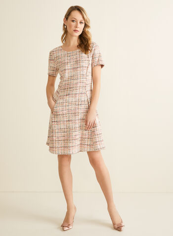 Short Sleeve Tweed Dress, Pink,  spring 2020, dress, tweed, straight cut, short sleeves, pockets