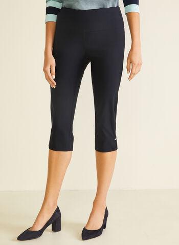 Slit Detail Pull-On Capris, Blue,  capris, pull-on, slim leg, bengaline, slits, spring summer 2020