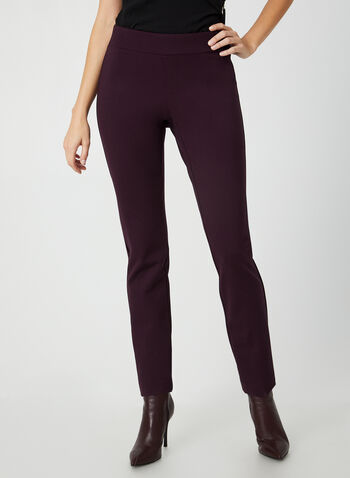 City Fit Slim Leg Pants, Purple,  pants, city fit, pull on, ponte de roma, straight legs, fall 2019, winter 2019