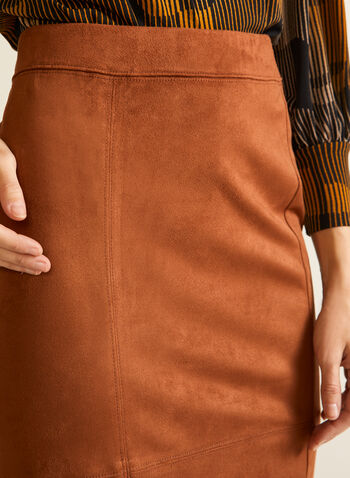 Faux Suede Pencil Skirt, Brown,  fall winter 2020, skirt, faux suede, fitted, pull-on, elastic waist, pencil
