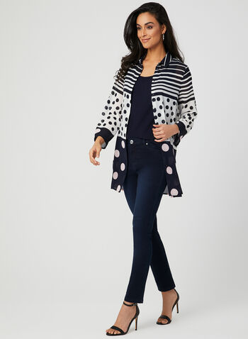 Mixed Print Duster Blouse, Blue, hi-res