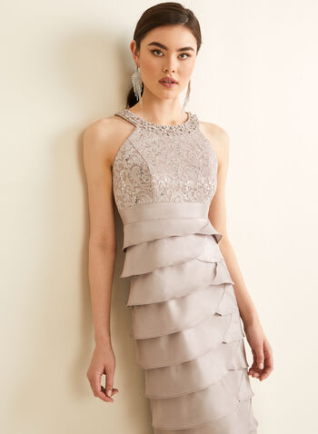 Tiered Ruffle Skirt Dress, Brown,  dress, evening, occasion, ruffled, tiered, cleo neck, sleeveless, beads, rhinestones, lace, glitter, sequins, satin, spring summer 2020