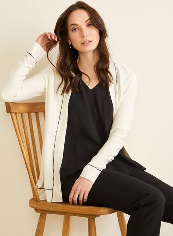 Cardigan ouvert à détails contrastants, Blanc cassé,  contraste, contrastant, manches longues, printemps été 2020, ouvert
