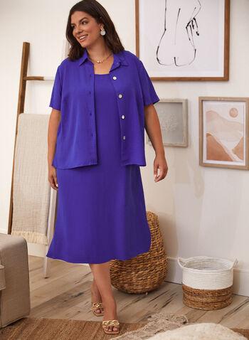 Robe maxi et blouse à manches courtes, Bleu,  ensemble, 2 en 1, blouse, col chemisier, manches courtes, boutons, fentes, robe, encolure arrondie, bretelles larges, coupe droite, printemps été 2021