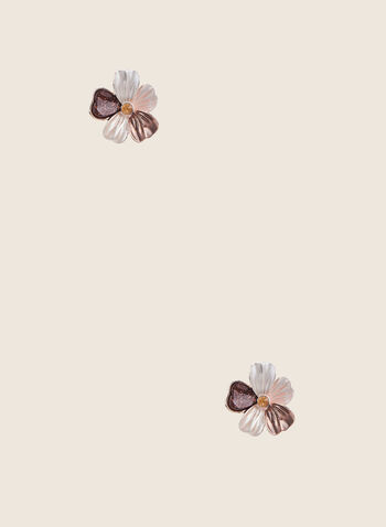 Clous d'oreilles fleurs, Brun,  clous d'oreilles, fleurs, résine, métal, printemps été 2020