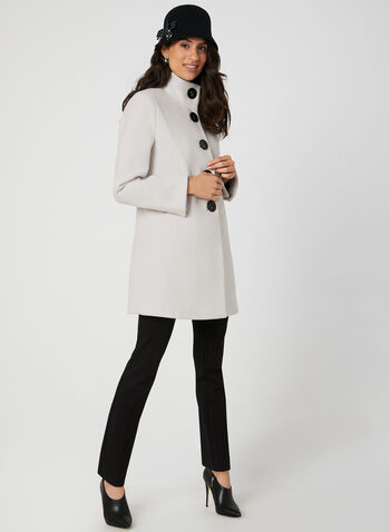 Wool-Like A-Line Coat, Off White, hi-res,  fall winter 2019, wool, large buttons, pockets, Slit cuffs