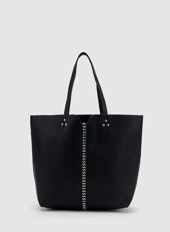 Lace Up Detail Tote Bag, Black, hi-res
