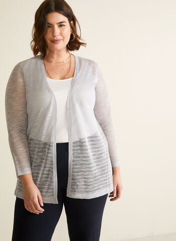 Linen Blend Open Front Cardigan, Silver,  cardigan, open front, linen, blend, knit, 3/4 sleeves, stretchy, spring summer 2020