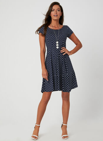 Polka-Dot Print Dress, Blue, hi-res
