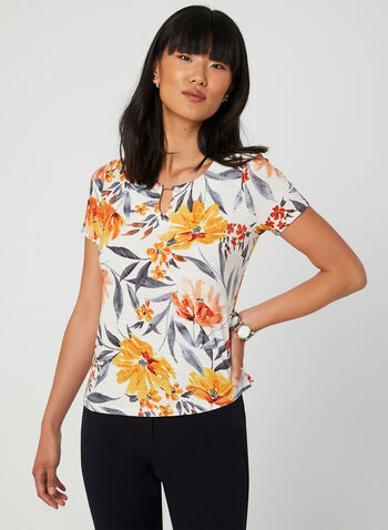 Floral Print Short Sleeve Top, Yellow,  Canada, top, short sleeves, floral print, keyhole, fall 2019, summer 2019