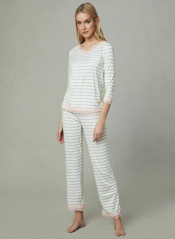 Kathy Ireland - Stripe Print Pyjamas, Multi, hi-res