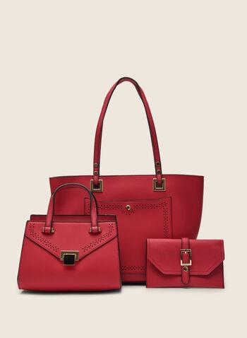 Lot de 3 sacs à main en similicuir , Rose,  sac à main, fourre-tout, pochette, cartable, similicuir, perforés, printemps été 2020