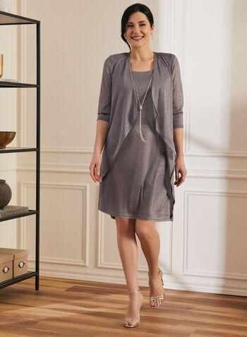 Metallic Dress & Cardigan Set, Silver,  set, ensemble, dress, cardigan, metallic, open front, cascade, chain, necklace, 3/4 sleeves, sleeveless, shoulder pads, spring summer 2020