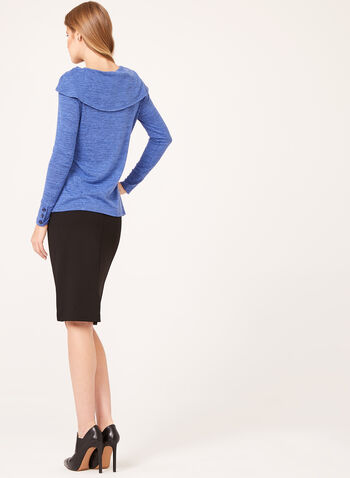 Boat Neck Heather Knit Sweater, Blue, hi-res