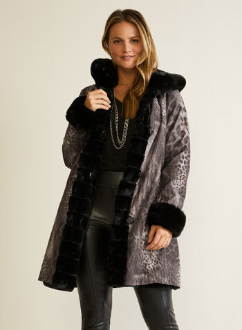 Leopard Print Reversible Coat, Black,