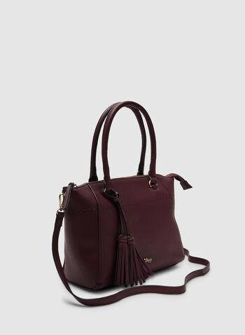 Sac en faux cuir à détails pompons, Rouge, hi-res,  sac, faux cuir, pompon, lanière, zip, automne hiver 2019