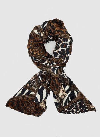 Écharpe plissée motif animalier, Brun, hi-res,  écharpe, animalier, plissée, automne hiver 2019