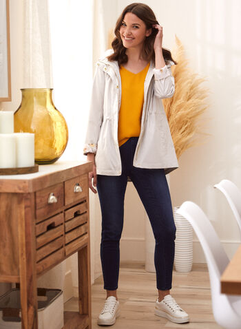 Kensie - Hooded Raincoat, Silver,  coat, raincoat, rainwear, hood, floral, zipper, button, elastic, pockets, high collar, spring summer 2020