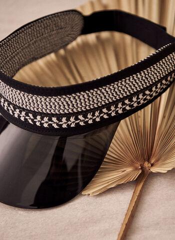 Transparent Brim Straw Visor, Black,  spring summer 2021, acrylic, brim, transparent, straw, visor, hat, cap, straw, accessories, elastic, headwear