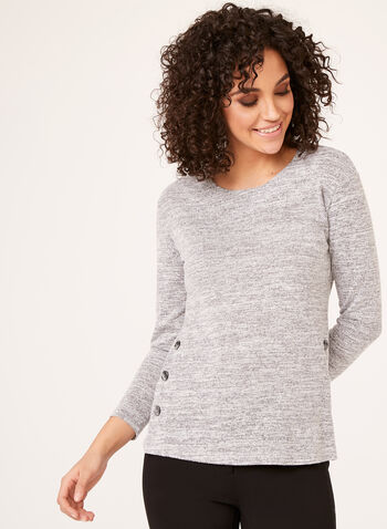Long Sleeve Heather Knit Tunic , Silver, hi-res