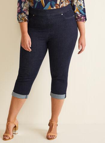 Carreli Jeans - Pull-On Denim Capris, Blue,  spring summer 2020, capris, denim, jeans, cuffs