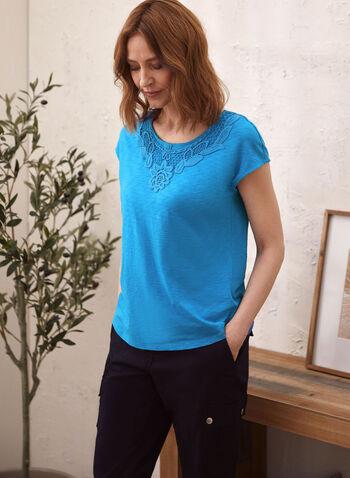 Lace Detail T-Shirt, Blue,  t-shirt, lace, cotton, modal, spring summer 2020