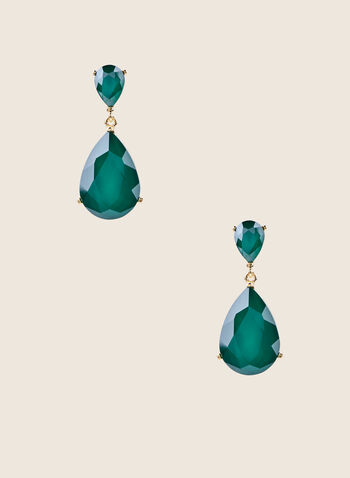 Teardrop Pendant Earrings, Green,  earrings, teardrop, faceted, stones, pendant, tiered, spring summer 2020